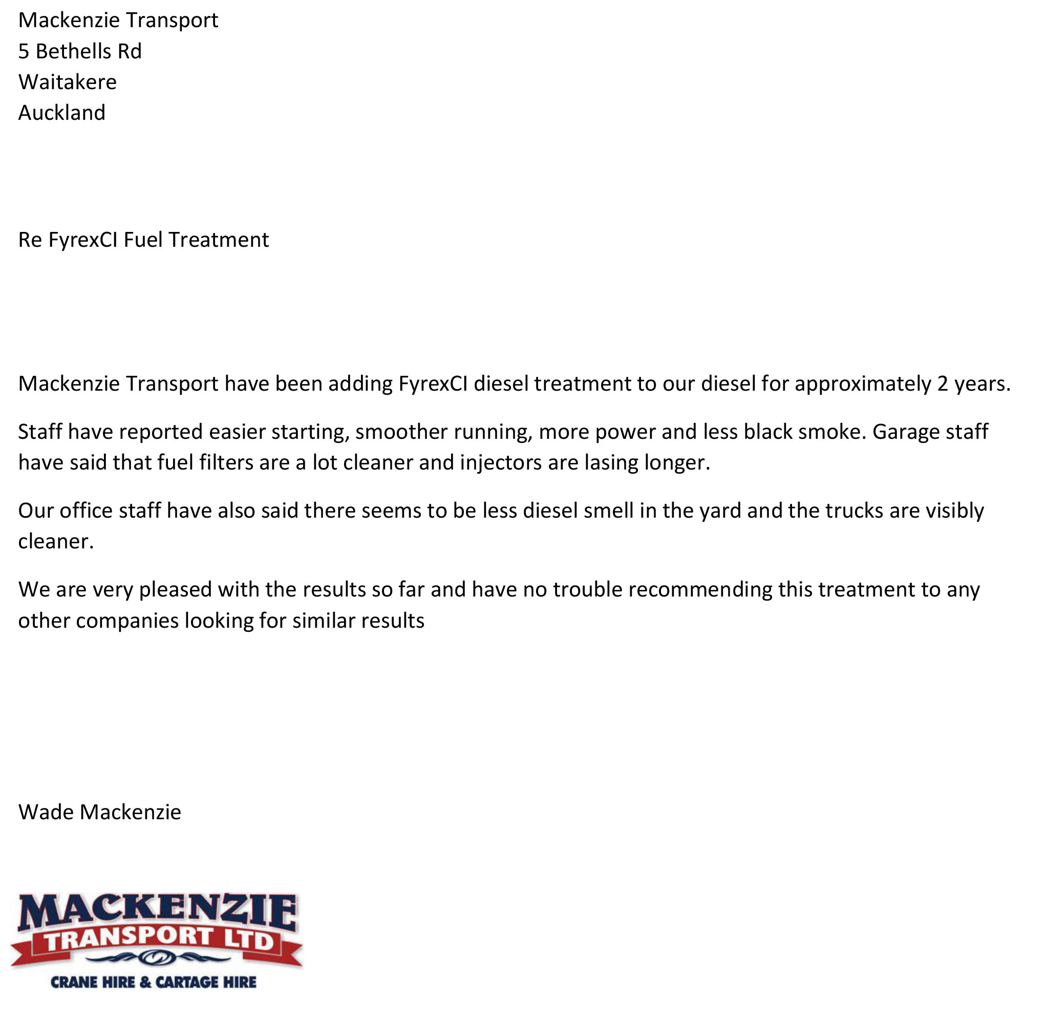testimonial from mckenzie transport